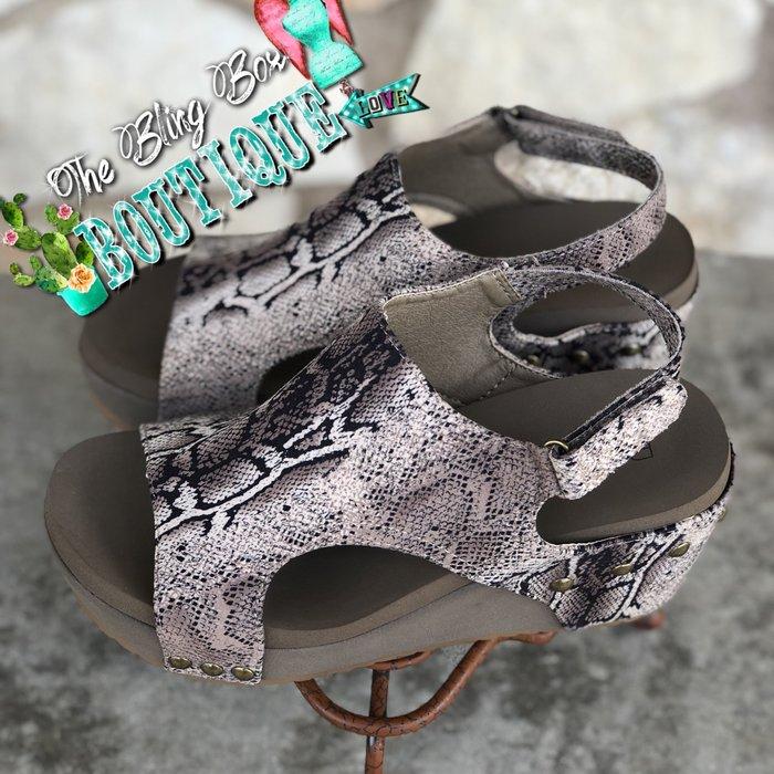 Brown Snake Cabot Wedge Sandal