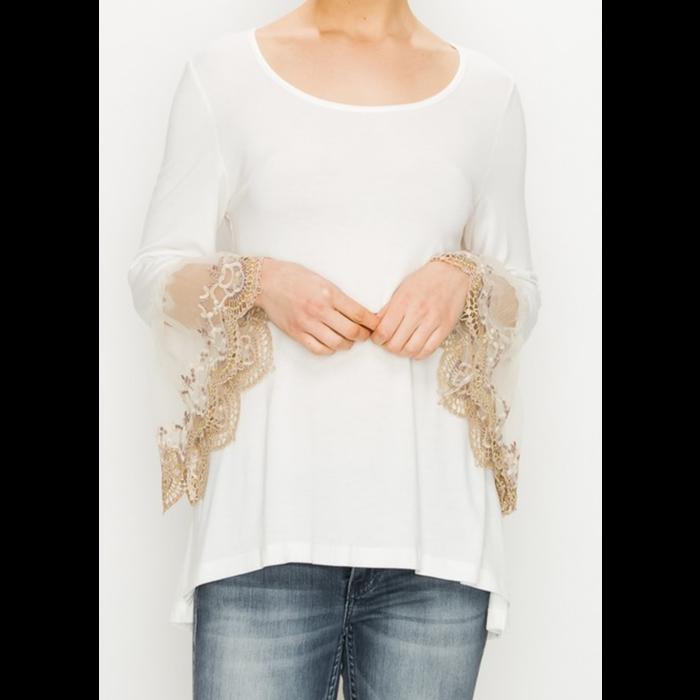 Ivory 3/4 Sleeve Cream Lace Trim Tunic