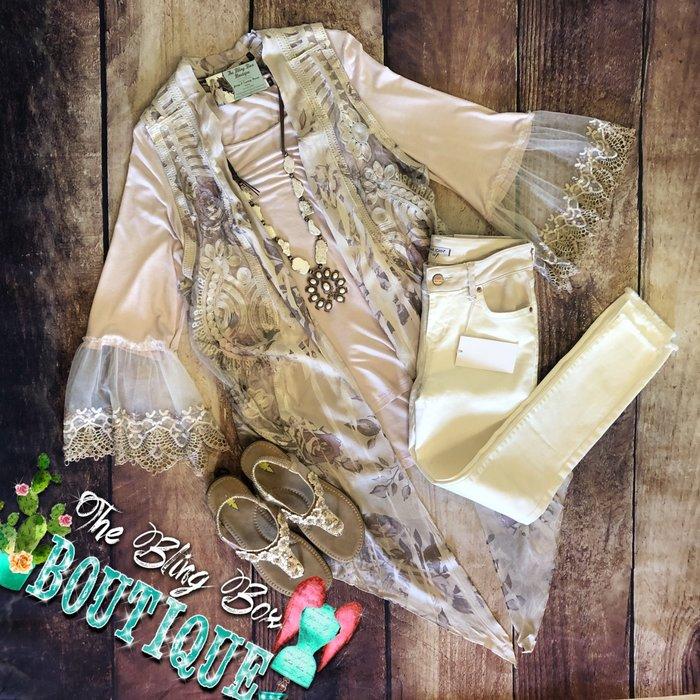 Mauve Rose Printed Lace Trim Vest