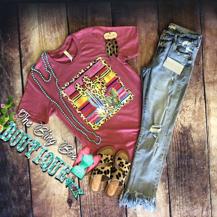 Leopard Cactus Serape on Berry T-Shirt