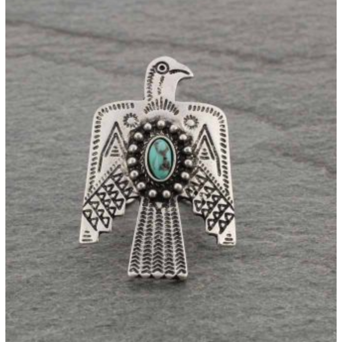 Silver & Turquoise Thunderbird Ring