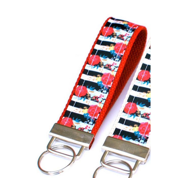 Black & White Floral on Red Keychain Lippy Clippy Co.