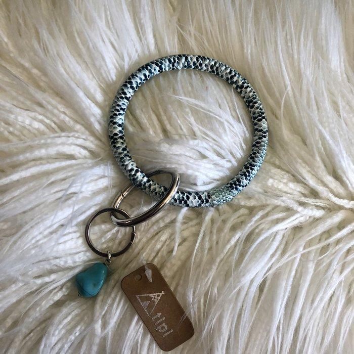 Blue Snake Skin Key Chain Bracelet