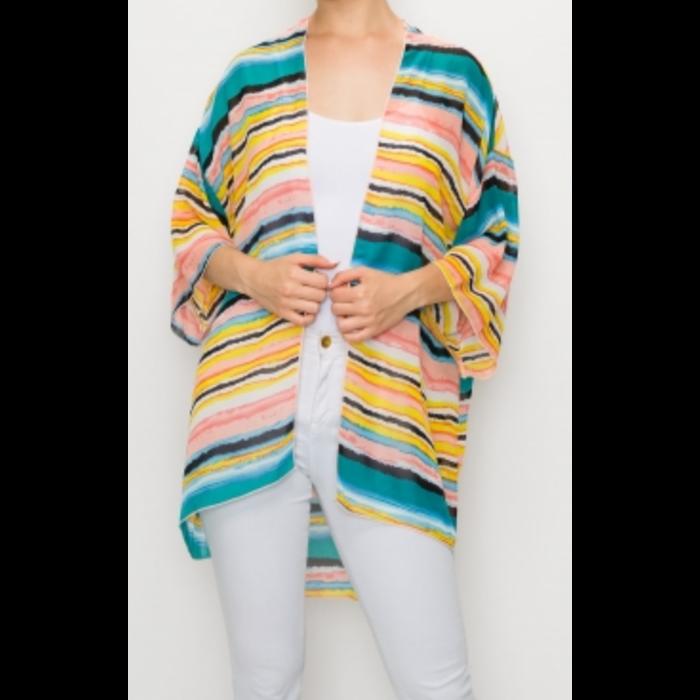 Teal Multicolor Striped Print Sheer Kimono