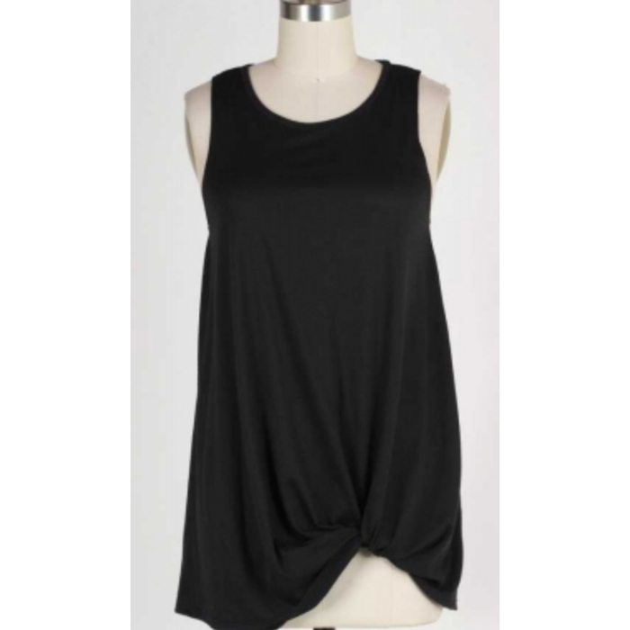 Black Sleeveless Knotted Hem Tank