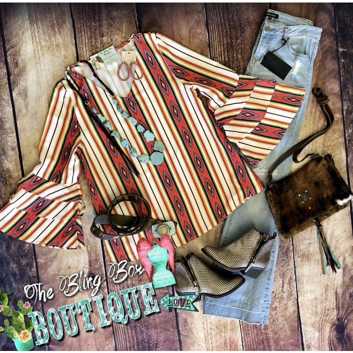 Ruffle Rodeo Southwest Serape Tunic