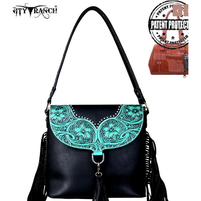 Trinity Ranch Fringe Black & Turquoise Collection Concealed Carry Hobo