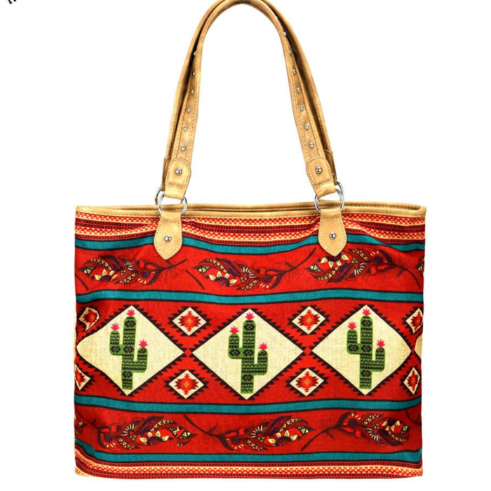 Red Aztec Cactus Print Canvas Tote Bag