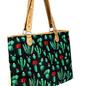 Dark Cactus Print Canvas Tote Bag