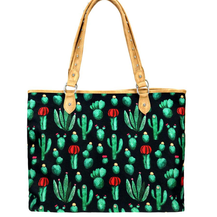 Dark Cactus Print Canvas Tote Bag