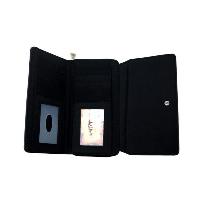 Black Speckled Trinity Ranch Hair-On Collection Secretary Style Wallet