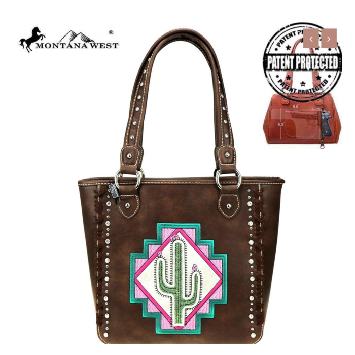 Coffee Cactus Embroidered Concealed Carry Handbag