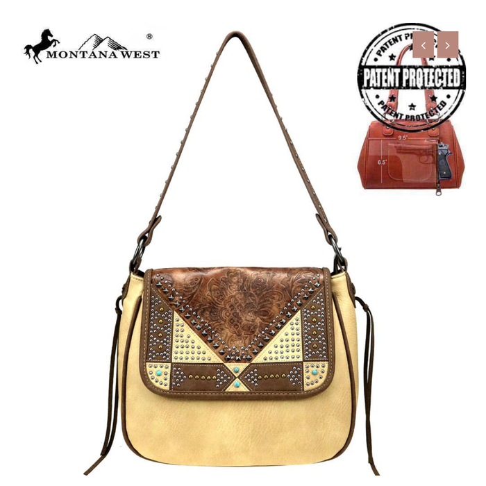 Tan Embossed Leather Studded Hobo Concealed Handgun Hobo Bag