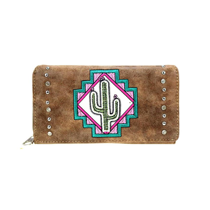 Coffee Cactus Embroidered Secretary Wallet