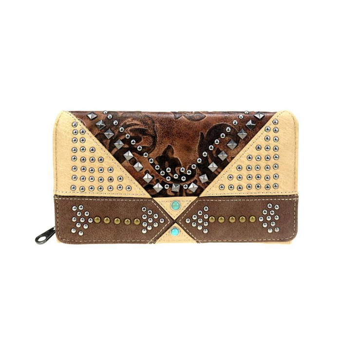 Tan Floral Embossed & Studded Wallet