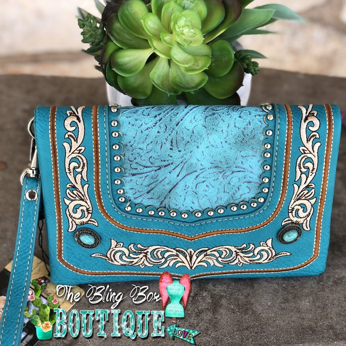 Turquoise Tooled Leather Embroidered Wristlet
