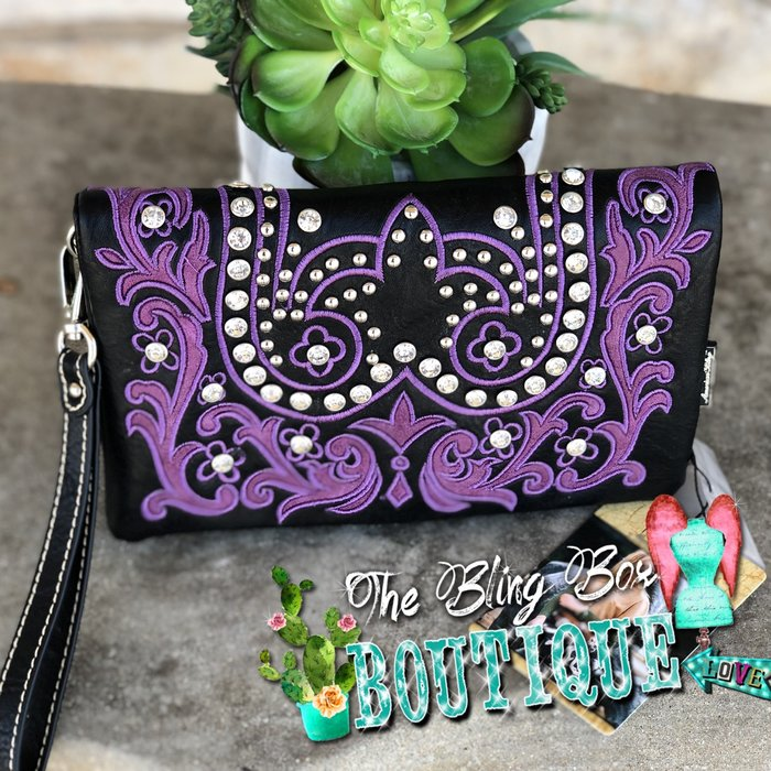 Purple & Black Tooled Leather Embroidered Wristlet