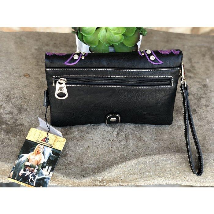 Purple & Black Tooled Leather Embroidered Wristlet