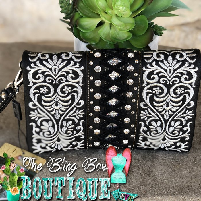 Ivory & Black Embroidered Bling Wristlet