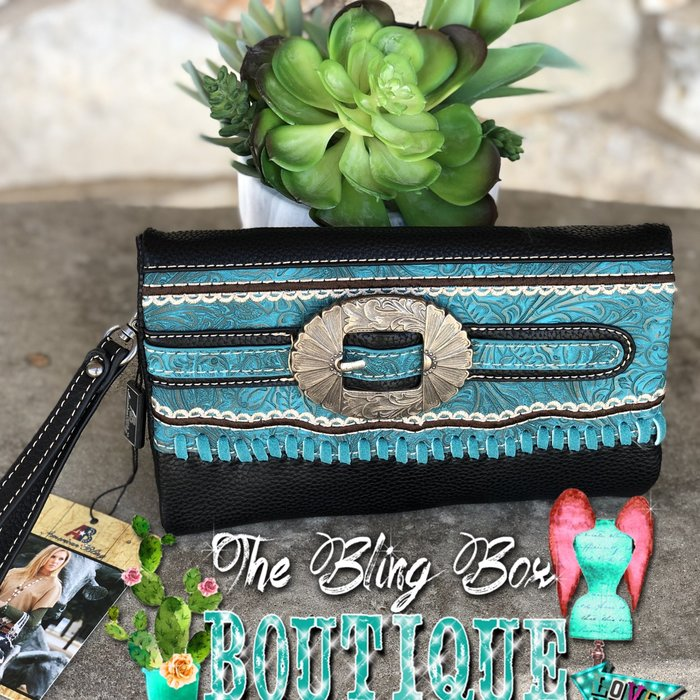 Teal & Black Concho Belt Wristlet