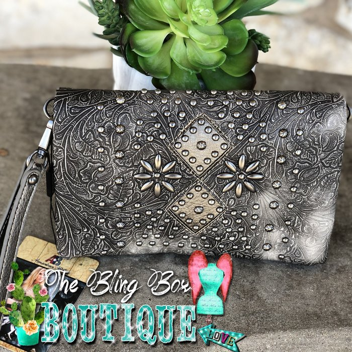 Pewter Distressed Tooled & Studded Wristlet