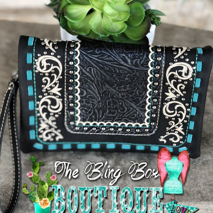 Ivory, Turquoise & Black Tooled Leather Wristlet