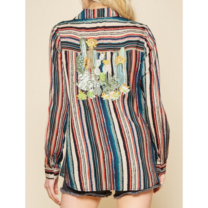 Cactus Embroidered Pocket Striped Blouse