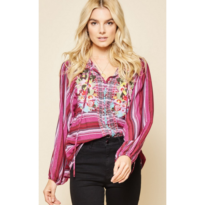 Magenta Cactus Embroidered Peasant Top