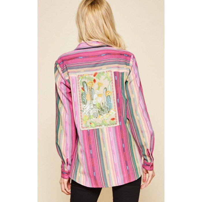 Pink Button Down Striped Blouse with Cactus Embroidered Back