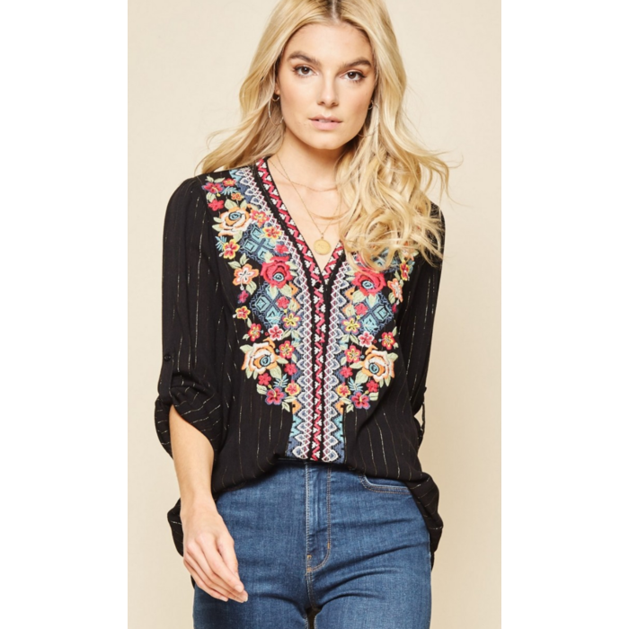 Black & Gold Striped Floral Embroidered Blouse