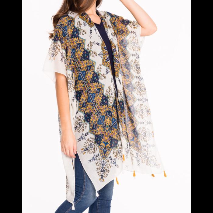 ONE SIZE - Mustard & Navy Medallion Tassel Kimono