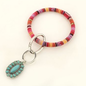 Red Serape with Turquoise Stone Key Chain Bracelet