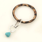 Leopard with Turquoise Stone Key Chain Bracelet