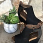 Black Sunburst Open Toe Wedge Shoe