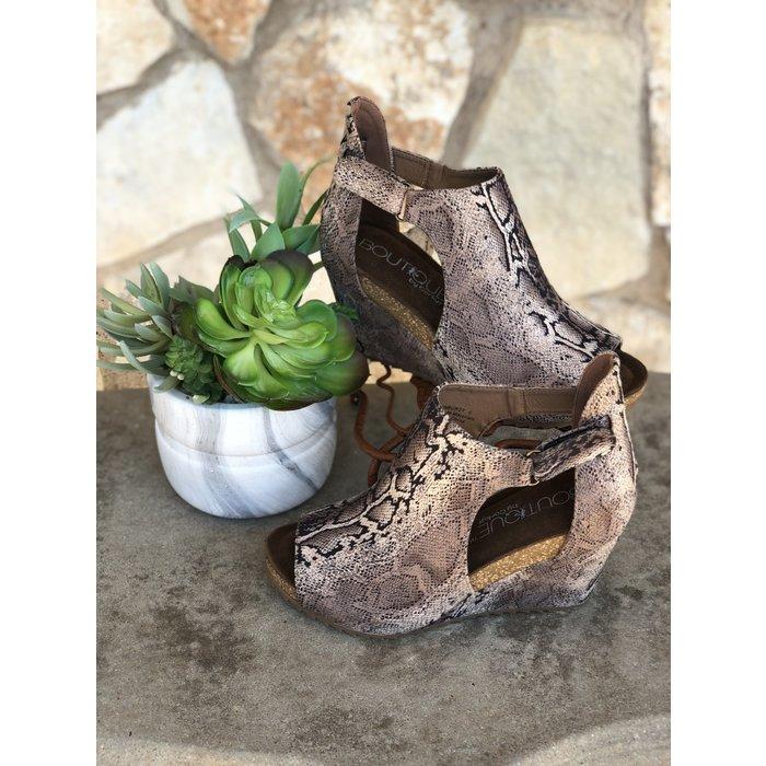 Brown Snake Skin Sunburst Open Toe Wedge Shoe