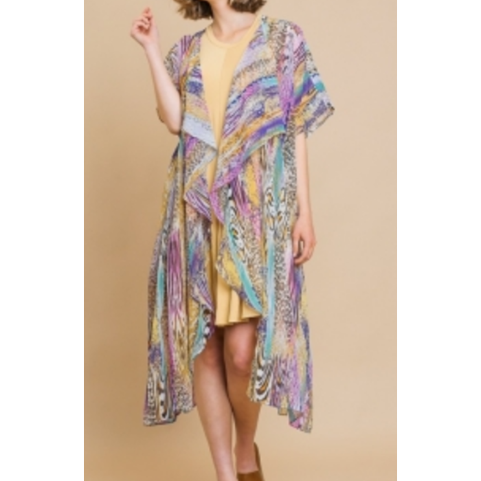 Purple Animal Print Long Duster Kimono