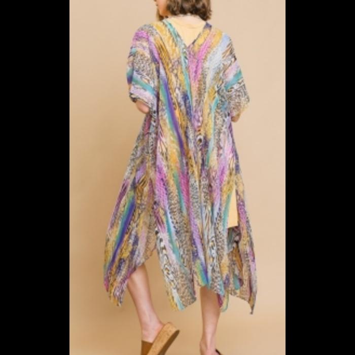 Purple Animal Print Long Duster Kimono