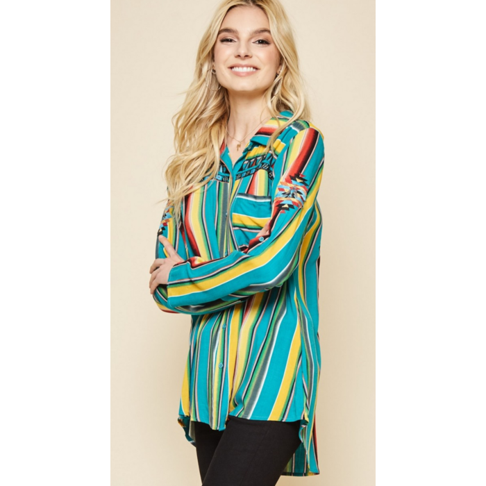 Embroidered Serape Indian Head Dress Blouse