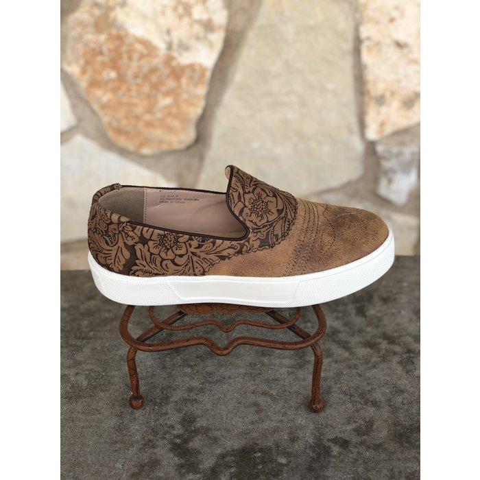 Rosecrans Tooled Brown Multi Slide On Sneaker