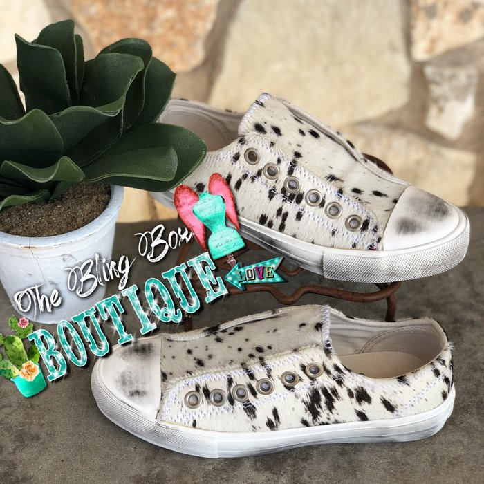 Cream Wildlife Cowhide Slip On Shoes