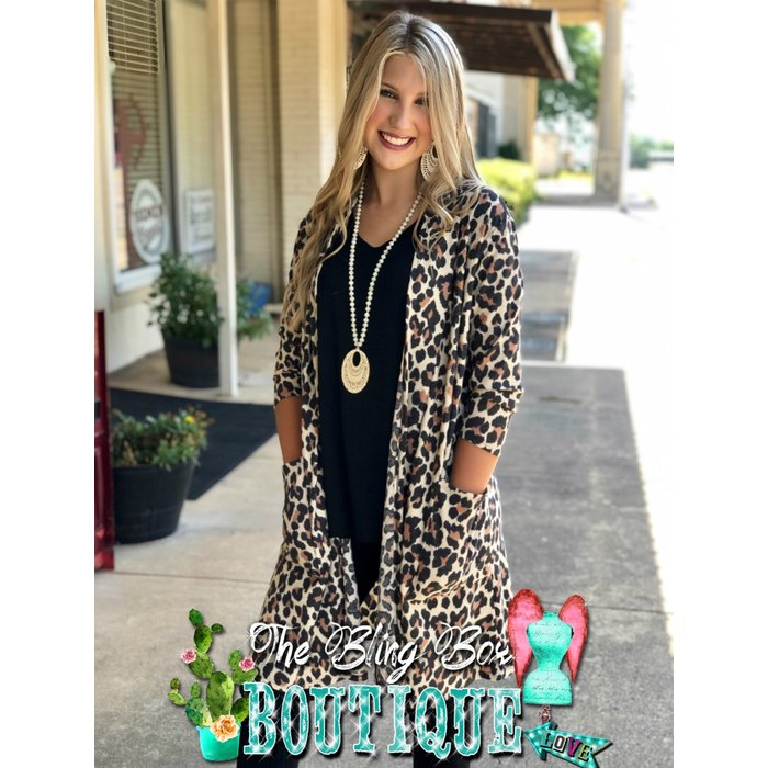 Leopard Print 3/4 Sleeve Cardigan