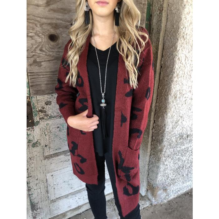 Dark Burgundy Sweater Cardigan