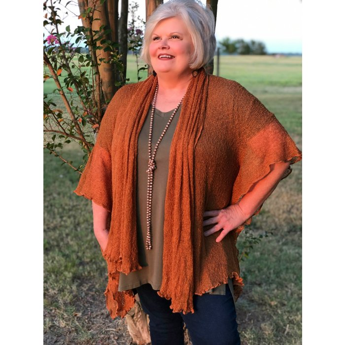 Copper Soul Warmer Woven Cardigan - ONE SIZE