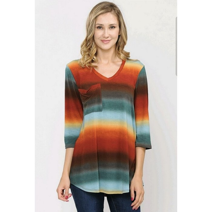Fall Sunset Pocket 3/4 Sleeve Top