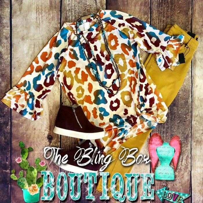 Ivory Fall Leopard Print Ruffle Sleeve Top