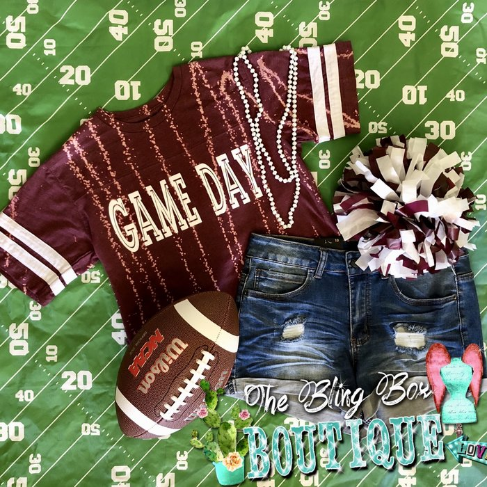 Game Day Bleached Maroon Sport Tee