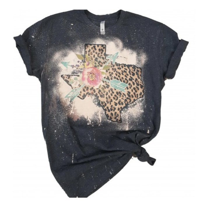 Distressed Leopard Texas T-Shirt