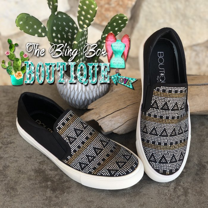 Whirl Aztec Bling Black Slip On Sneakers