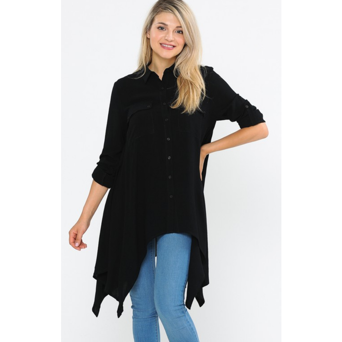 Black 3/4 Shark Bite Hem Button Up Top