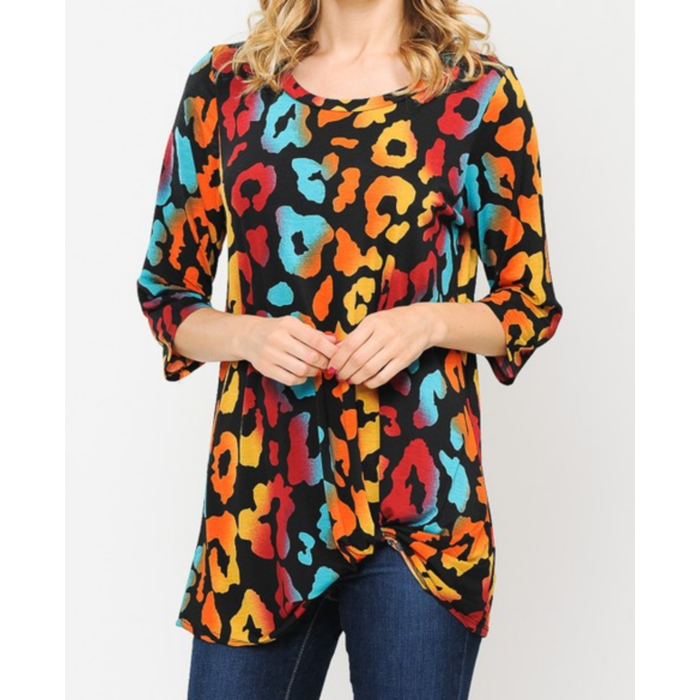 Dark Leopard Fall Twist Tie Top